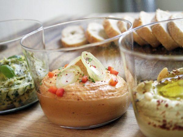 liptauer, zucchini hummus, rohmilch kraeuterbutter